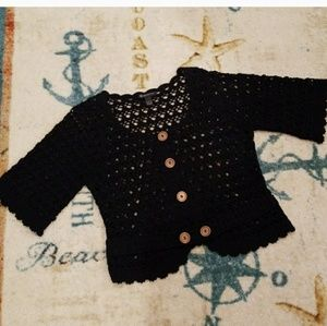 INC Black Crocheted Knit Sweater Size Lage